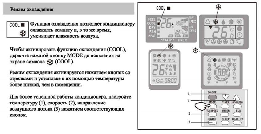 Как включить режим охлаждения кондиционера